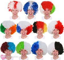 SUPPORTERS AFRO WIG EURO FOOTBALL RUGBY SPORTS EVENT FANCY DRESS NOVELTY HAIR