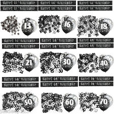 Black 13th-100th Birthday Banner Party Decorations Pack Kit Set Glitz Unisex