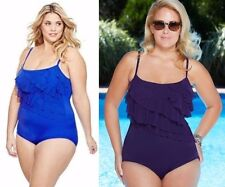 New Women's Longitude Tiered Swimsuit royal blue or black plus size 20W NWT