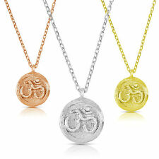 925 Sterling Silver OHM Yoga Charm Necklace Matte Finishing, 18""