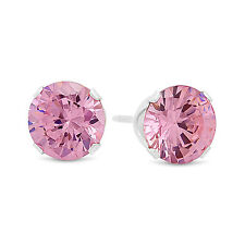 Solid 925 Sterling Silver Brilliant Cut Prong Set Pink CZ Round Stud Earrings
