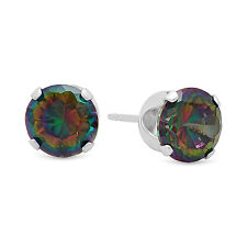 925 Sterling Silver Brilliant Cut Prong Set Mystic Topaz CZ Round Stud Earrings