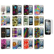 Colorful Hard Snap-On Rubberized Case Cover+Screen Protector for iPhone 5 5S