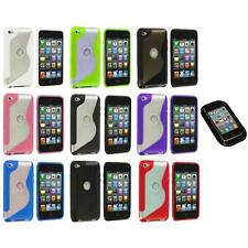 TPU S-Line Deluxe Rubber Case Cover+Sticky Pad for iPod Touch 4th Gen 4G 4