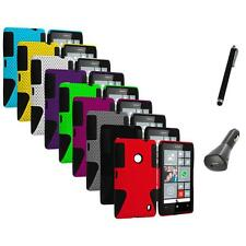 For Nokia Lumia 520 Hybrid Mesh Hard/Soft Silicone Color Case Cover+Charger+Pen