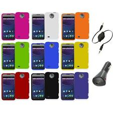 For ZTE Sprint Vital N9810 Hard Snap-On Rubberized Case Cover+Aux+Charger