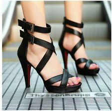 Fashion Peep Toe Ankle Strap Platform Stiletto High Heels Sandals Womens Shoes