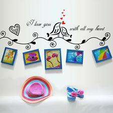 Removable Love Birds Photo Frame Wall Stickers Decals Vinyl Art Home Mural DIY