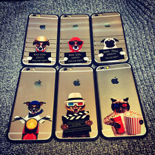 Cool Cartoon Dog Cat Cute Clear Hard Case Cover Skin for iPhone 5S 6 6S Plus