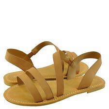 Women's Shoes Bamboo Bayside 04S Strappy Asymmetrical Flat Sandal Natural *New*
