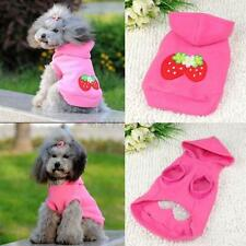 XS-XXL Pet Small Dog Strawberry Print Hoodie Coat Apparel Puppy Clothes Outwear