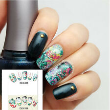1 Sheet Nail Art Water Decals Floral Chrysanthemum Lotus Nail Transfer Stickers