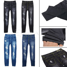 New Sexy Girl Women Skinny Leggings Slim Faux Denim Jeggings Stretchy Pants