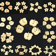 100Pcs Cartoon Wooden Buttons Scrapbooking Clothing Sewing Bead Craft Wholesale