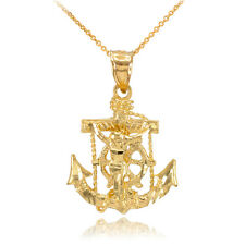 10k Gold Mariner Crucifix Anchor St. Clement's Cross Pendant Necklace