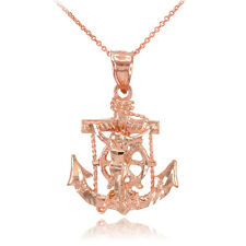 14k Rose Gold Mariner Crucifix Anchor St. Clement's Cross Pendant Necklace