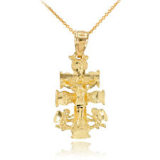 14k Gold Caravaca Crucifix Cross Charm Pendant Necklace Good Luck Fortune Health