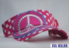 NWT Womens Girls Peace Symbol Embroidered Bling Visor White & Pink Polka Dots
