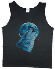 Men's tank top lone wolf howling moon wolves nature t-shirt sleeveless tee