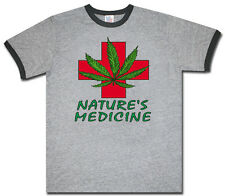 Medical cannabis marijuana pot weed 420 men's size ringer tee shirt t-shirt