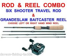 SPINNING COMBO JOHN WILSON SIX SHOOTER TRAVEL ROD+GRANDESLAM BAITCASTER REEL