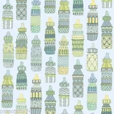 Baby Sprinkles baby bottles 100% cotton fabric sold by the yard BLUE background
