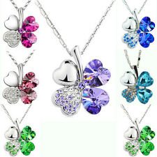 6Colors Women Happiness Clover Leaf Crystal Pendant Chain Necklace Lover Gifts