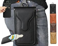Retro Leather Belt Holster Loop Pouch 2 Pocket Bag Case For Cell Phone W/ Buckle