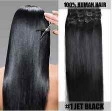 7PCS Full Head #1 Jet Black clip in remy Real human hair lot extensions15''-28''