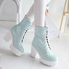 Womens Mid Calf Lace Up Textured Platform Boots High Heel Shoes US Size Y1485