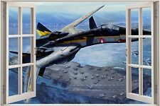 Huge 3D Window Army Planes Aircraft Carrier View Wall Sticker Mural 917