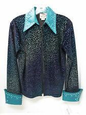1849 Women's Black/Teal/Purple Animal Print Western Equitation Show Shirt~Sm,M.