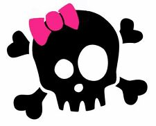 Girly Skull sticker VINYL DECAL biker Harley Pirate
