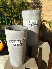 Ceramic Planter Vase Garden Potting Shed Grey Distressed Finish Indoor Outdoor