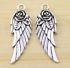 25/50/100 pcs Very beautiful angel wings Tibet silver charm pendant 31x12mm