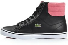 LACOSTE WOMEN'S REAL LEATHER SHOES MID HI TRAINERS 7-26SPW10111J1 BLACK PINK