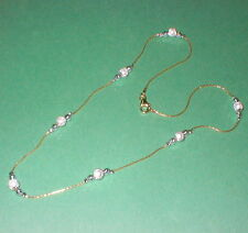 14kt Gold Filled Chain with Sterling Silver 925 Beads Two Tone NECKLACE