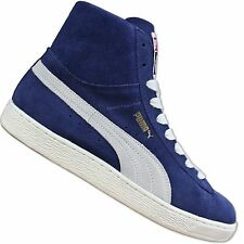 PUMA ORIGINALS SUEDE MID TOP CLASSIC SHOES LEATHER TRAINERS BLUE WHITE