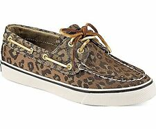 SPERRY TopSider Bahama 2-eye Tan Leopard SPARKLE Boat Shoes NIB Wmns 6, 7.5 or 8