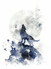 ART PRINT Howling Wolf illustration, Wildlife, Wall Art, Animal, Moon, Splatter