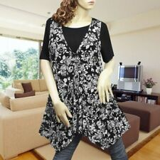 BLACK/WHITE FLORAL RUFFLE LAYER CASUAL TUNIC TOP #1727 SIZE XL