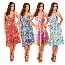Pistachio Womens Floral Poppy Or Spotted Aztec Print Strappy Knee Length Dress