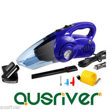Car Portable Vehicle Dust Vacuum Cleaner Handheld Wet&Dry Tyre Air Inflater Blue