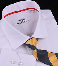 Classic White Dress Shirt Formal Business Mens Apparel Single Button Cuff Red A+