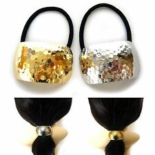 Big Embossed Silver Gold Metallic Ponytail Holder Hair Cuff Band Tie Accessories