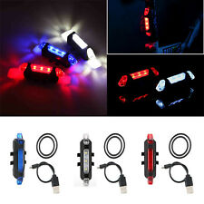 Colorful 5LED Bicycle Bike Cycling USB Rechargeable Front Rear Tail Safety Light