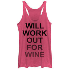 CHIN UP Work Out For Wine Womens Graphic Racerback Tank - Fifth Sun