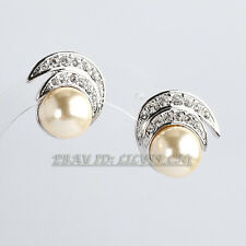 Fashion Rhinestone Pearl Stud Earrings 18KGP Crystal