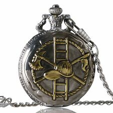 Mens Antiqued Bronze-Tone Fire Fighter Day-Date Quartz Covered Pocket Watch Gift
