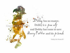 ART PRINT Dobby the House Elf Quote, Harry Potter illustration, Wall Art